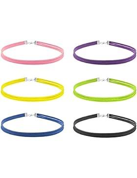 Damen Mädchen 6 Stück Choker Halskette Set Stretch Samt Kette 3 Reihe Halsband Farbig