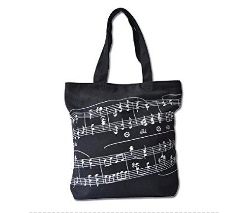 20 Pocket Liner (Action Cloud Stofftasche mit Klaviertasten, Einkaufstasche, für Notenbücher und anderes, tolles Geschenk für Musikliebhaber MG-343 Black)