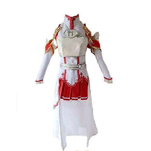 Kostüm Yuuki Cosplay - Vokaer Frauen Schwert Art Online Asuna Yuuki Cosplay Kostüm Outfit Red Halloween Dress,L