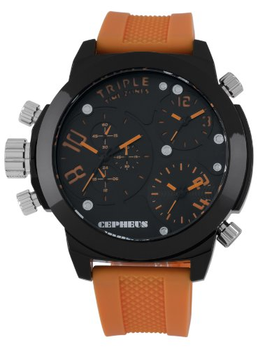 Cepheus Men's Quartz Watch with Black Dial Analogue Display and Orange Silicone Strap CP902-620B