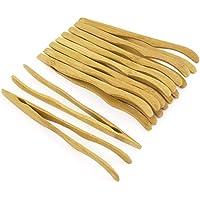 XZANTE Pinzas De Bambú Reutilizables 16 Cm, Brazos Curvos, Color Madera - 10 Piezas - Pinzas Tostadas
