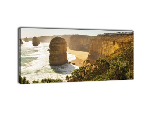 Leinwandbild Panorama Nr. 390 zwölf Apostel 100x40cm, Keilrahmenbild, Bild auf Leinwand, Kalkstein Australien Küste