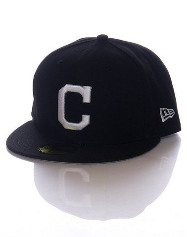 New Era 59Fifty Cleveland Indians BK WH Fitted Hat (Black/White) Men's MLB Cap 59fifty White Hat