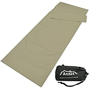 41idpUjAJKL. SS300  - Andes Polycotton Envelope Sleeping Bag Liner Inner Camping Sheet