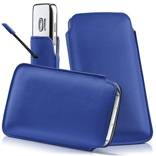 moex Samsung Xcover 550 | Hülle Blau Sleeve Slide Cover Ultra-Slim Schutzhülle Dünn Handyhülle für Samsung Xcover 550 Case Full Body Handytasche Kunst-Leder Tasche