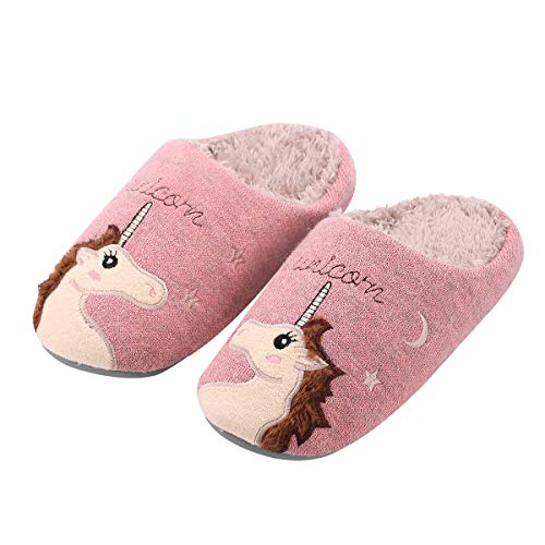 Kqpoinw Slippers Women, Ladies House Slippers, Warm Winter Slippers Indoor Outdoor Anti-Slip Shoe Animal Unicorn Slippers for Women Men and Kids