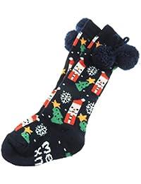 Bébé Filles garçons Super mignon Festive Sapin de Noël Flocons de neige  Marine Pom Pom Chaussettes 529bcc225f2