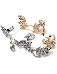 DesiDo - Anillo midi con cadena, diseño de hojas, imitación de oro y brillantes