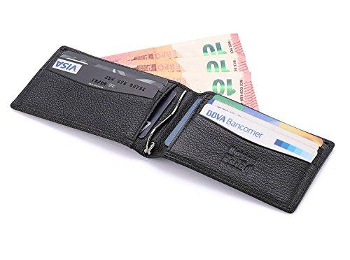 flintronic Portemonnaie Leder Herren Geldbörse mit RFID-Blocker Schutz Herren Visitenkartenetui Echtleder Geldklammer Ausweis und Kreditkartenetui Brieftasche (#1 Schwarz)