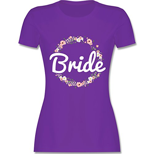 Shirtracer JGA Junggesellinnenabschied - Bride Blumenkranz - Damen T-Shirt  Rundhals Lila