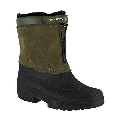 Groundwork Ls88Herren Mucker stabile Yard Wasserdichter Winter Snow Zip Stiefel Gummistiefel, - khaki - Größe: 42 , 8 UK