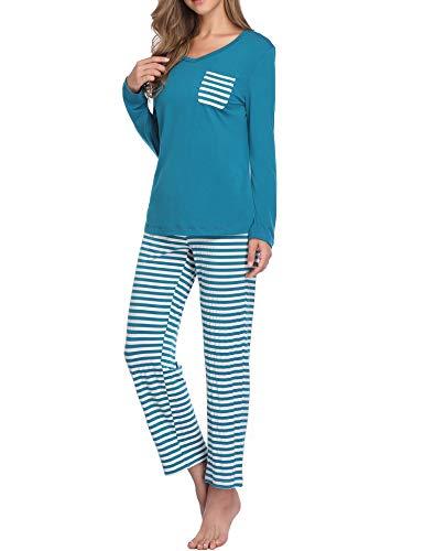 Lusofie Damen Pyjama Set Lange Ärmel Gestreiftes Nachtwäsche-Set Schlafanzug mit Tasche (67 See Blauer, XL) -