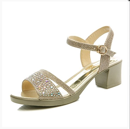 Sommer Damen Mode Sandalen komfortable High Heels, 35 schwarz Gold