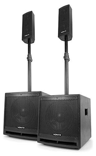 """Vonyx VX1000BT - 2.2 Aktivlautsprecher-Set, Boxensystem, 1000 W, 2 x 10\""""-Subwoofer, 2 x 2,5\""""-Mitteltöner, 1 x 2,5\""""-Hochtöner, Bluetooth, USB, SD, AUX, Mikrofon, Fernbedienung, schwarz"""