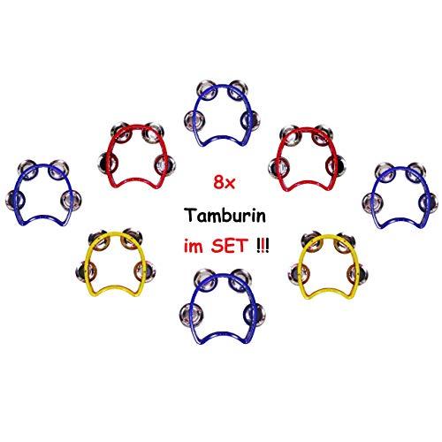 1a-becker 8X Tamburin Schellenring Tambourin für Kinder Musikinstrument Mitgebsel Geburtstag