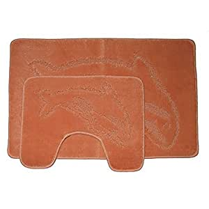 Badematten- und- WC-Vorleger-Set mit Delfin-Design, 2-teilig (Siehe Beschreibung) (Terracotta)