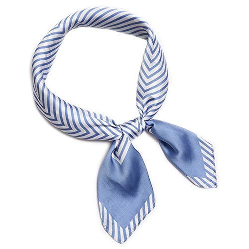 LITOON Kopftücher Damen Halstuch Schal Frauen Kopftuch Taschentuch, Ansatz Handgelenk Verpackungs Silk Halstuch Bandanas Stirnband für Mädchen Frauen 27.6x27.6inch (Streifen/Light Blue) - Light Blue Bandana