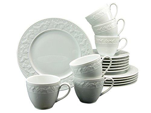 Creatable 17973 Serie Silvia, Kaffeeservice, Porzellan, weiß, 32,5 x 23,5 x 22,5 cm, 18 Einheiten