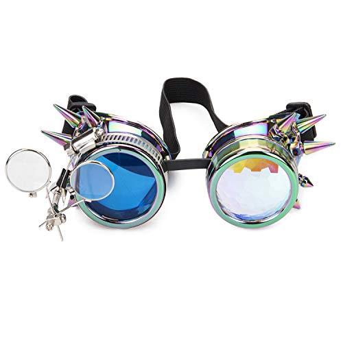 Spikes Cyber Steampunk Goggles Kaleidoskop Gläser Rave Brillen mit Farbige Linsen & Okular Lupe Brille Rivet Vintage Cosplay Party Schweißen Goth Punk Sonnenbrillen