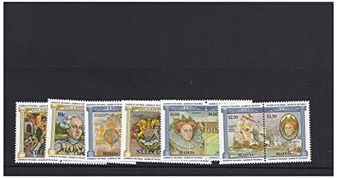Mint Könige und Königinnen Briefmarken für Sammler - 12 Briefmarken mit Elizabeth I, die spanische Armada und George I - St. Lucia - frisch