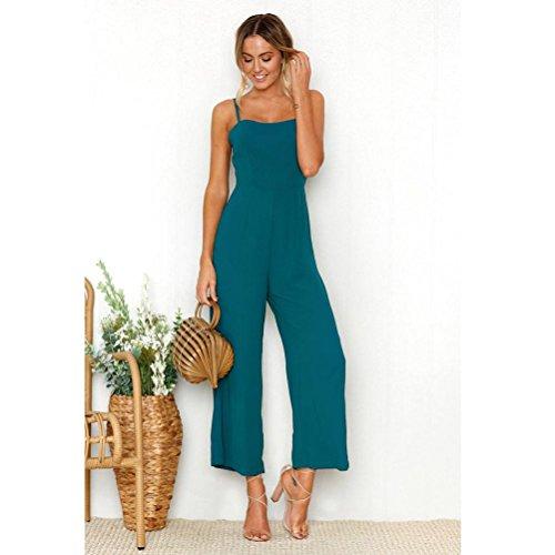 Mounter Womens Playsuit Sleeveless Chiffon Fashion Spaghetti Strap Jumpsuit Long Pants Playsuit Club Cocktail Jumpsuit Romper  Wide Leg Pants  Green  Medium