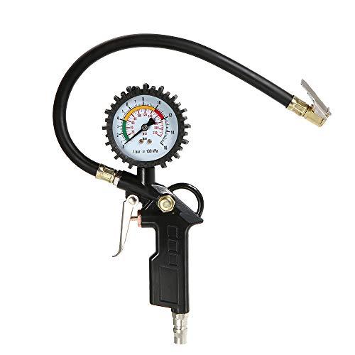 KKmoon Manometro Digitale, Alta Precisa Pistola Gonfiaggio per Pressione Pneumatici con Schermo LCD di Auto e Moto, 0-220PSI, 0-16 Bar, Nero