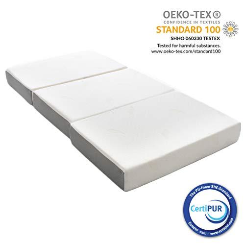 Milliard - Gästematratze 3 Teilige Faltmatratze Memory Foam, 15 cm dick/Gäste Klappmatratze mit Utraweichem Abnehmbarem Bezug und Rutschsicherer Unterseite - 90 x 190