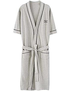 DDOQ Albornoz de Pijamas de Verano de Algodón de Manga Corta de Pareja de Verano (Color : Grey, Tamaño : XXL)
