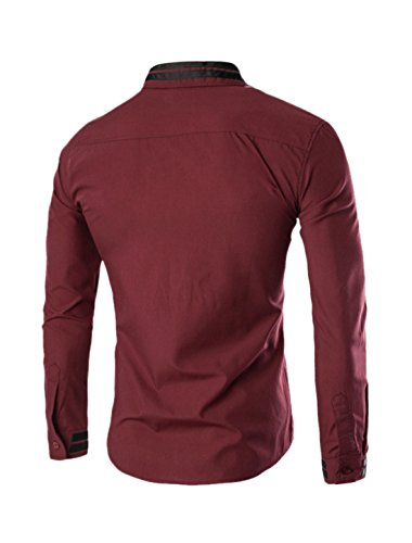 sourcingmap Hommes Manches Longues Col Pointu Rayures Chemise Coupe Cintrée Rayures Rouges