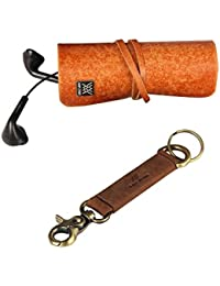Genuine Leather Cords Wrap Organizer And Leather Key Holder Pack Of 2