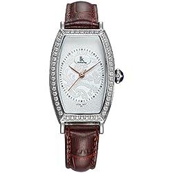 Fashion Simple Creative Rectangle Luxury Rhinestones Leather Strap Quartz Women Wrist Watch,White-Brown