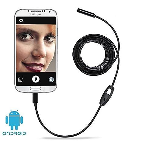 HD 2 Millionen Pixel COMS Kamera USB Endoskop Digitale Endoskop 7 mm Kamerakopf mit 6 Einstellbare Weiße LEDs Endoskop Inspektionskamera Rohr Boroskop, Handy-Endoskop für Android-System mit OTG und UVC-Funktion & Kompatibel mit Laptop USB-Adapter Inbegriffen (10m)