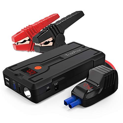 TrekPow G39 Starthilfe Powerbank,1200A Spitze[3.GenerationmitQDSP]mit intelligentem kabel für Benzin bis zu 6,5L und Dieselmotoren 5,5L, LED-Taschenlampe, LCD Bildschirm