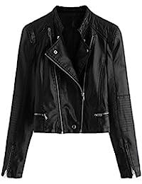 ROMWE Damen Bikerjacke Kunstleder Übergangsjacke Zipper Reißverschluss  Lederimitat Fliegerjacke d3bac72097