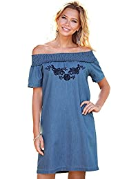 87b9c33923e VENCA Women039 s Embroidered Denim Dress with Stretchy Smocked Boatneck and  Short Raglan Sleeves