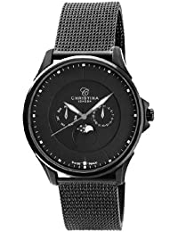 Christina Design London 517BLBLBL-MESH - Reloj analógico de cuarzo para hombre, correa de acero inoxidable chapado color negro