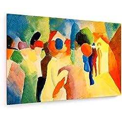 August Macke - Mit gelber Jacke - 120x80 cm - Leinwandbild auf Keilrahmen - Wand-Bild - Kunst, Gemälde, Foto, Bild auf Leinwand - Alte Meister/Museum