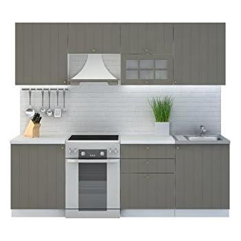 Küche provence 240 cm küchenzeile einbauküche küchenblock erweiterbar module frei kombinierbar grau