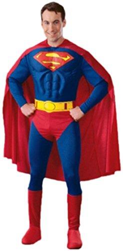 Für Superman Erwachsene Kostüm Muskel - Karnevalsbud - Herren Kostüm Superman mit Umhang, Muskel-Jumpsuit, Überziehstiefel und Gürtel, S, Blau
