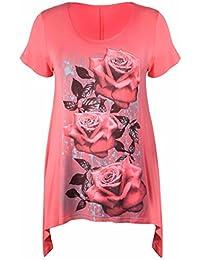 Purple Hanger - Damen Tunika Übergröße Unebener Saum Kurzärmelig T-Shirt Oberteil Blumen Rosen Druck Jersey