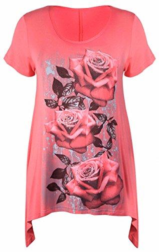 Neue Womens Plus Größe Uneben Zipfelsaum Kurzarm T-Shirt oben Damen Blumen Rosen Druck Jersey Tunika - Koralle, Damen, 52-54