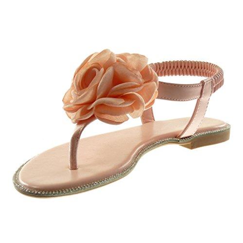 Diamante Scarpa strap 1 Fiori Rhinestone Sandalo Rosa Slip Angkorly Sandalo Centimetri Della Caviglia 5 Tacco Blocco Donne Modo Cinghia Di on IXZnqSfw4