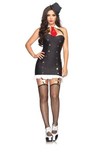 Kostüm Erwachsene Gangster Sexy Für - Leg Avenue Suzy Silencer Dress Schwarz  M/L, 1 Stück