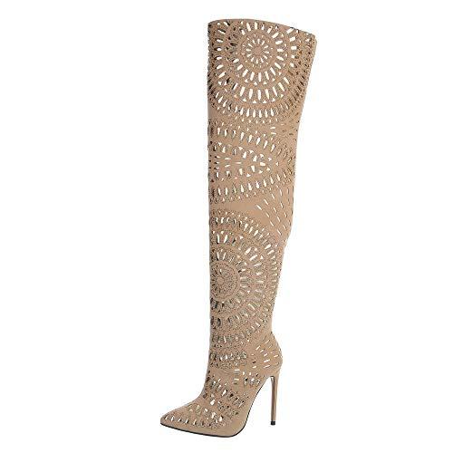 Ital-Design Damenschuhe Stiefel Overknees Synthetik Beige Gr. 40