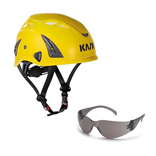 KASK Schutzhelm, Bergsteigerhelm, Industriekletterhelm Plasma AQ - Arbeitsschutz-Helm + Schutzbrille grau - EN 397, Farbe:gelb