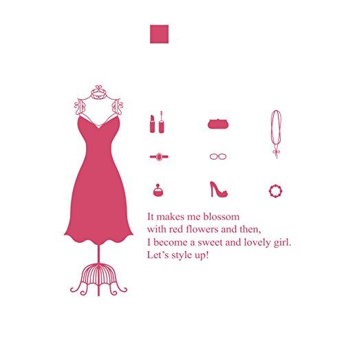 Kleidung shop wandsticker,Kleiderbügel modell wandsticker für frauen bekleidungsgeschäft shop fenster glas aufkleber dekorative wand-aufkleber-B 114x104cm(45x41inch) (Fenster Frauen)