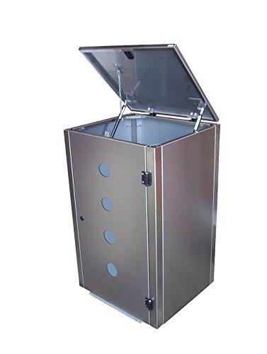 Mülltonnenbox Edelstahl, Modell Eleganza Circ als Viererbox für 120 Liter Tonnen - 2