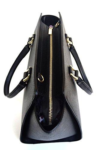 SUPERFLYBAGS Borsa in vera pelle saffiano modello Flavia Made in Italy nero
