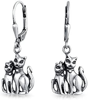 Bling Jewelry Plata Esterlina Gatos colgando hacia atrás Aretes Animal
