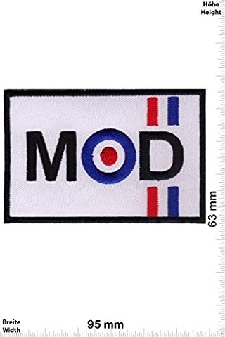 Patches - MOD - Vespa - Rectangle- Motorbike - Motorsport - Motorcycles - Biker - Iron on Patch - Applique embroidery Écusson brodé Costume Cadeau- Give Away